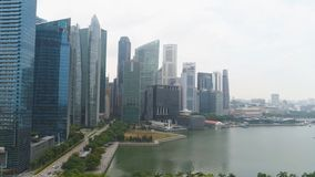 Singapore - 25 September 2018: Central Area of Singapore with skyscrapers on the riverside. Shot. Singapore landscape stock photos