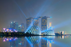 Singapore - September 19, 2014 Marina Bay Sands with lasers show royalty free stock photos