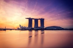 Singapore sikt av Marina Bay sander Royaltyfri Fotografi