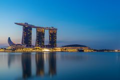 Singapore sikt av Marina Bay sander Royaltyfri Bild