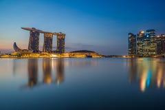 Singapore sikt av Marina Bay sander Arkivbilder