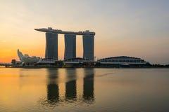 Singapore sikt av Marina Bay sander Arkivfoton