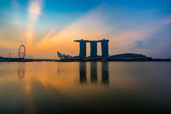 Singapore,Singapore – April 2016 : Aerial view of Singapore city skyline in sunrise or sunset at Marina Bay, Singapore Royalty Free Stock Photos