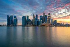 Singapore,Singapore – August 2016 : Aerial view of Singapore city skyline in sunrise or sunset at Marina Bay, Singapore.  Stock Photo