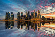 Singapore,Singapore – August 2016 : Aerial view of Singapore city skyline in sunrise or sunset at Marina Bay, Singapore.  Royalty Free Stock Photos
