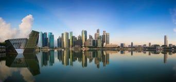 Singapore,Singapore – May 7 2016 : Aerial view of Singapore city skyline in sunrise or sunset at Marina Bay, Singapore Royalty Free Stock Image