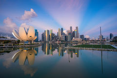 Singapore,Singapore – May 7 2016 : Aerial view of Singapore city skyline in sunrise or sunset at Marina Bay, Singapore Stock Images