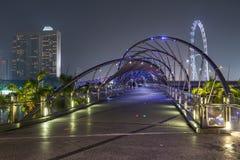 Singapore, Singapore - circa September 2015: Helix Bridge in Singapore by  night Stock Photo
