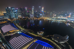 SINGAPORE, SINGAPORE - CIRCA SEPTEMBER 2015: Marina Bay panorama of Singapore Downtown Financial District from the observatory on Royalty Free Stock Image