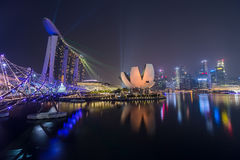 SINGAPORE, SINGAPORE - CIRCA SEPTEMBER 2015: Singapore city lights, ArtScience Museum, Marina Bay Sands and Helix Bridge at night, Stock Images
