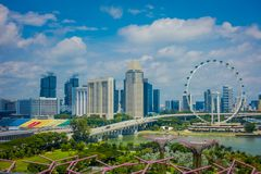 SINGAPORE, SINGAPORE - FEBRUARY 01, 2018: Outdoor view of Singapore Flyer - the Largest Ferris Wheel in the World with a Royalty Free Stock Photo
