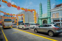 SINGAPORE, SINGAPORE - JANUARY 30. 2018: COutdoor view of many cars in Renovated Chinatown in Singapore showing the Stock Photo