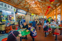 SINGAPORE, SINGAPORE - JANUARY 30. 2018: Indoor View Of People Eating In The Lau Pa Sat Festival Market Telok Ayer Is A Royalty Free Stock Photography