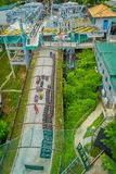 SINGAPORE, SINGAPORE - JANUARY 30, 2018: Above view of Singapore Sentosa Skyride Luge, Singapore. SINGAPORE, SINGAPORE - JANUARY 30, 2018: Above view of Stock Photo