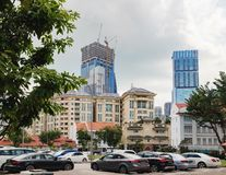 Modern Singapore of China Town. Singapore, Singapore - January 17, 2018: The mixture of styles in architecture of modern Singapore. The Center of Singapore royalty free stock photography