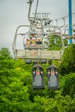 SINGAPORE, SINGAPORE - JANUARY 30, 2018: Outdoor view of empty Singapore Sentosa Cable Car and Skyline Luge, Singapore.  Royalty Free Stock Photography