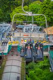 SINGAPORE, SINGAPORE - JANUARY 30, 2018: Outdoor view of empty Singapore Sentosa Cable Car and Skyline Luge, Singapore.  Stock Photography