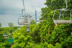 SINGAPORE, SINGAPORE - JANUARY 30, 2018: Outdoor view of Singapore Sentosa Cable Car and Skyline Luge, Singapore.  Royalty Free Stock Images