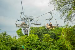 SINGAPORE, SINGAPORE - JANUARY 30, 2018: Outdoor view of unidentified people at Singapore Sentosa Cable Car and Skyline. Luge, Singapore Stock Photo