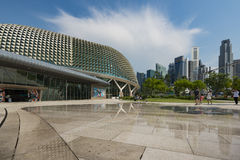 Singapore, Singapore - July 17, 2016: Esplanade Theatre with Central Business District, Singapore Royalty Free Stock Photo