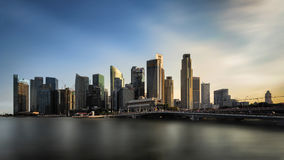 Singapore, Singapore - July 17, 2016: Sunset sky over Central Business District, Singapore Royalty Free Stock Photography