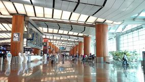 Inside view of Changi International Airport, Singapore. Singapore, Singapore - May 9, 2018 : Inside view of Changi International Airport, Singapore stock video footage
