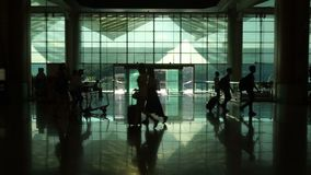 Singapore, Singapore - May 9, 2018 : Unidentified passenger in Changi Airport, Singapore. It is the world famous airport in the w. Orld stock footage