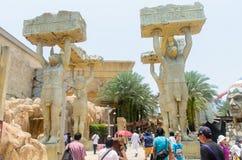 Singapore Singapore - September 21, 2014: Forntida Egypten themed zon på det Singapore för universella studior nöjesfältet Royaltyfri Fotografi