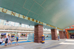 Singapore Singapore - September 21, 2014: ingången av universella studior Singapore på Singapore tillgriper världen Arkivbild