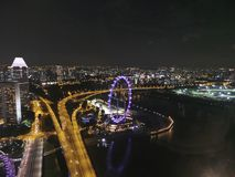 Singapore. Flyer Asia skyline nightlife Stock Images