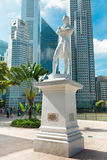 Singapore. Sir Raffles statue Stock Photos