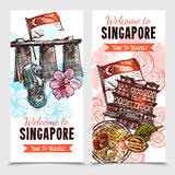 Singapore Sketch Vertical Banners. Singapore vertical banners in hand drawn style with merlion and marina bay sands images and description welcome to singapore stock illustration