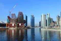 Singapore Skyline. Modern skyscraper under construction with crane,Singapore Marina Bay royalty free stock photography