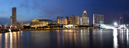 Singapore Skyline. A Panorama Of City hall,Esplanade Theater,singapore fly with luxury hotel at night,  view from merlion park Royalty Free Stock Photos