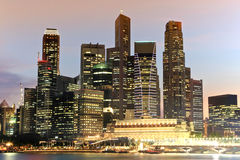 Singapore Skyline. At night, view from Gold Sand Casino Royalty Free Stock Images