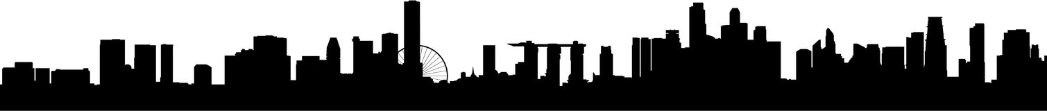 Singapore Skyline Silhouette Wide. The latest city skyline silhouette of Singapore, with the new Marina Sands Casino and the Singapore Flyer added. Extra wide Royalty Free Stock Images