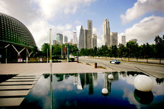 Singapore Skyline. Taxi and reflecting pool Stock Photo