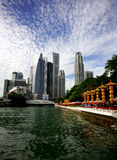 Singapore Skyline. Across the water on sunny day Stock Image