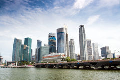 The Singapore Skyline. Singapore skyline of financial district with modern office buildings and Merlion Park as seen from Esplanade Stock Photos
