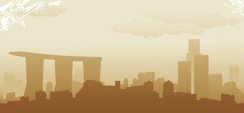 Singapore skyline. Abstract vector illustration Stock Photos