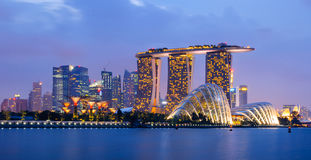 Singapore Skyline. In a twilight stock image