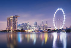Singapore Skyline. At night Stock Image