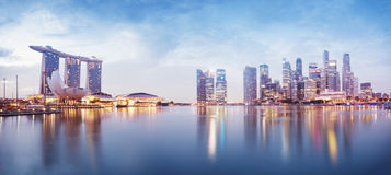 Singapore Skyline. Panoramic image of Singapore`s skyline at night Stock Image