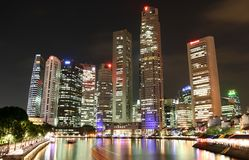 Singapore Skyline. Along the Singapore river at night Stock Image