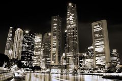 Singapore Skyline. Black and white Stock Photography