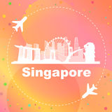 Singapore skyline. With airplane great for travel design Royalty Free Stock Photos