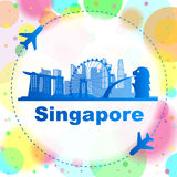 Singapore skyline. With airplane great for travel design Stock Photography