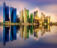 Singapore skyline background. Vibrant panorama background of Singapore skyline at the business bay Stock Image