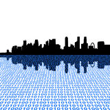 Singapore skyline with binary. Code foreground illustration Royalty Free Stock Photo
