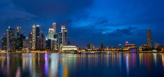 Singapore Skyline at Blue Hour Panorama Stock Photography